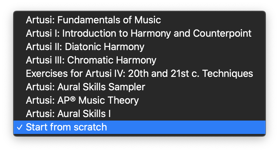 Dropdown menu of curriculum choices with 'Start from Scratch' selected