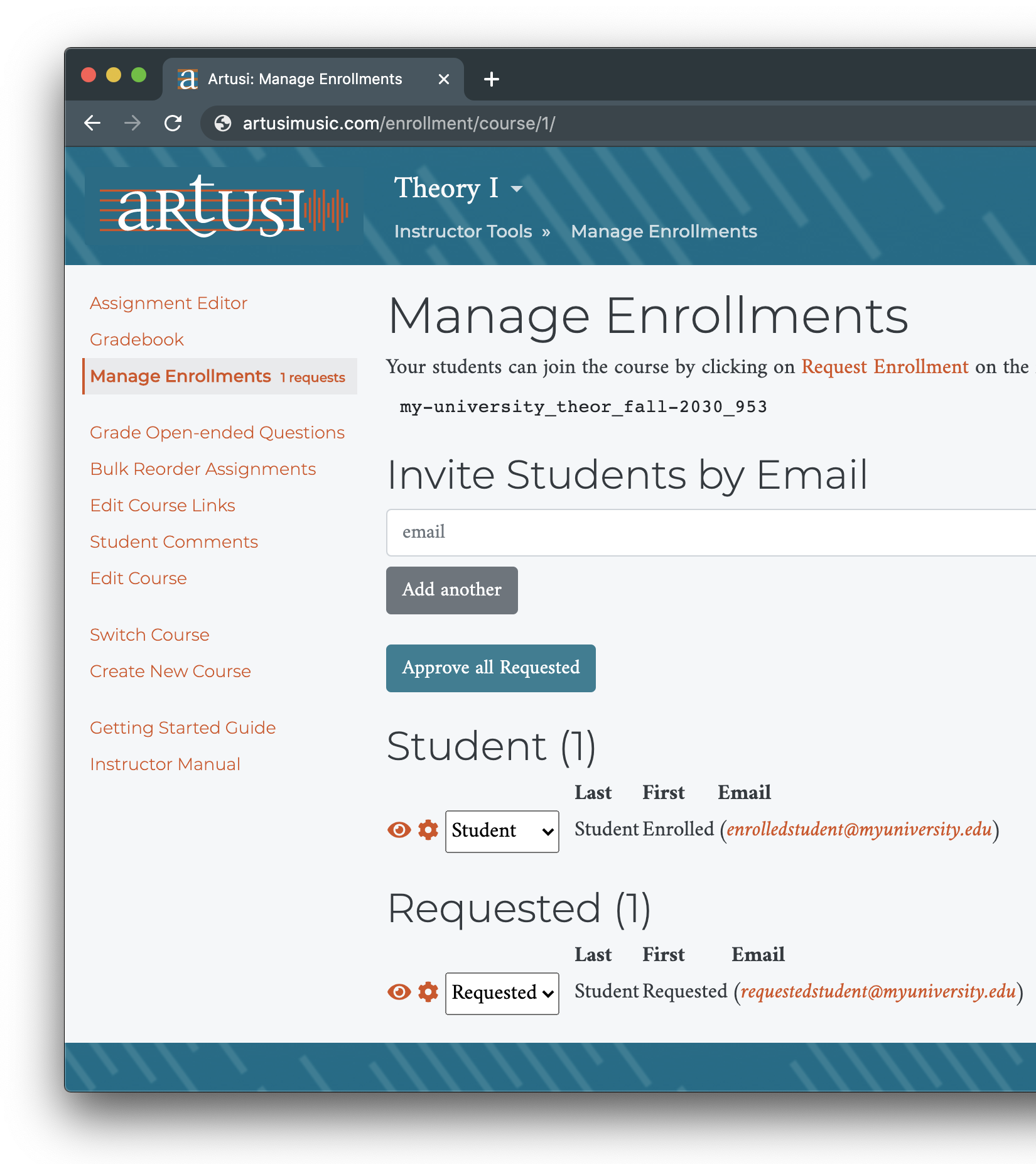 Manage Enrollments screen
